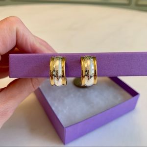 Nordstrom Silver & Gold Huggie Clip-on Earrings